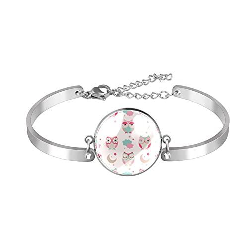 Pulsera, brazalete de acero inoxidable brazalete de regalo de joyería puño pulido estilo de caja de regalo de moda búhos pájaros para hombres mujeres