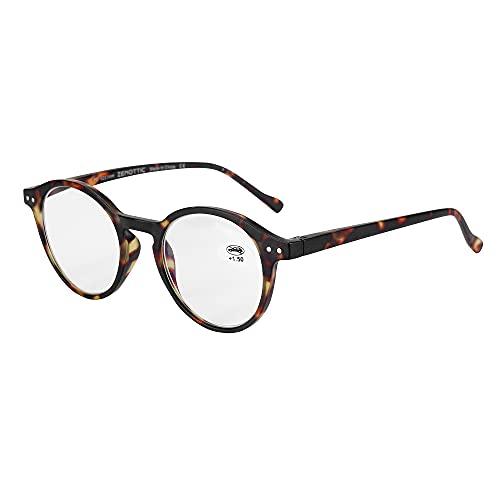 ZENOTTIC Gafas de Lectura de Bloqueo de Luz Azul Lentes Antirreflejos Gafas Retro de Ligero Marco Redondo para Hombres y Mujeres (TORTUGA, 2.50x)