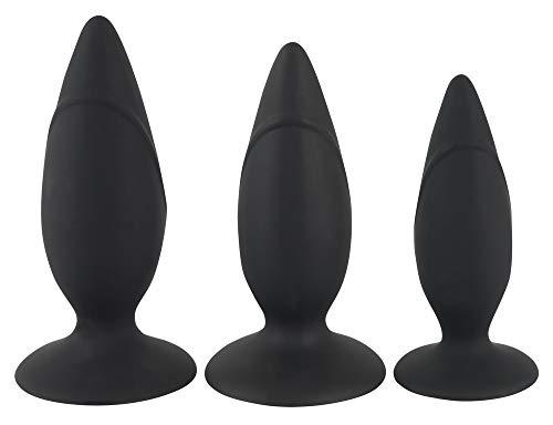 ORION Analplug Training-Set - 3er-Analset für Männer und Frauen, unterschiedlich große Plugs für Einsteiger, Plug-Set aus Silikon, schwarz