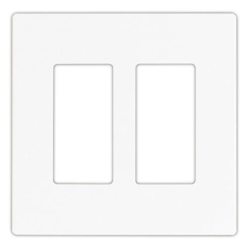 EATON PJS262W Arrow Hart Pjs262 Decorative Screw less Wall Plate, 2 Gang, 4-1/2 In L X 4.56 In W X 0.08 In T, White
