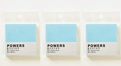 プリントインフォームジャパン gnotes 粘着力と糊面積アップふせん 「POWERS」 60×60mm 【3個セット】 (パステルブルー)