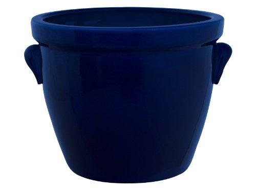 Pflanzgefäß / Blumentopf / Pflanzkübel Venus II mit Henkel, 28 x 20 cm, blau (Kobalt) aus Steinzeug-Keramik (hochwertiger als Steingut)