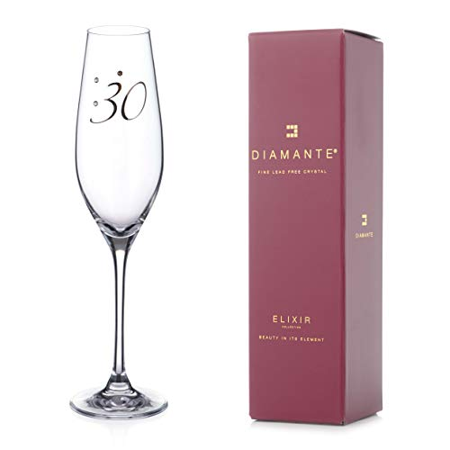 "DIAMANTE Swarovski'30th"" Birthday' Champagne Flute – Single Crystal..."