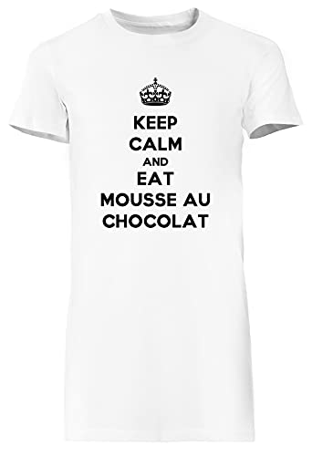 Keep Calm and Eat Mousse Au Chocolat Blanca Vestido Largo Mujer Camiseta Tamaño S White Dress Long Women