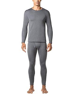 LAPASA Men's Heavyweight Thermal Underwear Long John Set Fleece Lined Base Layer Top and Bottom M24 (Large, Dark Grey.)