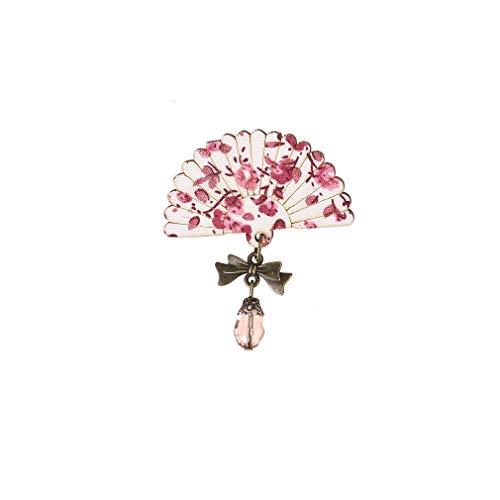 MOONRING Broches de abanico, estilo vintage, con diseño de flores, para bufandas, accesorios de ropa, color rosa