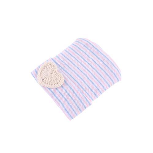 Hengxing bébé enfant en bas âge Turn-up tricoté beanie chapeau coeur forme hiver mignon chaud chapeau doux double chapeaux superposés, rayure