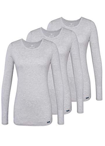 Adar Damen Untershirt 3er Pack - Langärmeliges Komfort T-Shirt - 2903 - Marl Gray - L