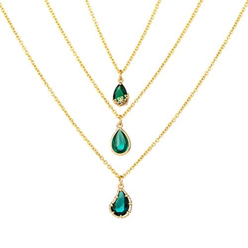 TTGE Collares con Colgante de Piedra Transparente de Gota de Goteo de Agua Verde Oscuro Dulce romántico para Mujeres Accesorios de joyería de Boda Femenina