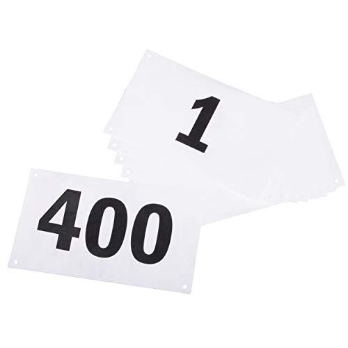 Azarxis Startnummern mit Sicherheitsnadeln für Sportveranstaltungen, Wasserdicht und Reißfest, Nummern 001-100 oder 001-200 (Nummern 001-400)