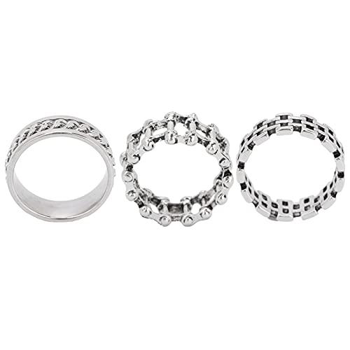 Anillo de 3 piezas de joyería, juego de tres piezas 3 piezas de anillo exquisito para hombres para fiestas de baile, viajes, citas