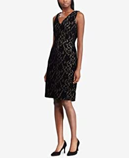 RALPH LAUREN Womens Black Lace Sleeveless V Neck Above The Knee Sheath Cocktail Dress US Size: 2