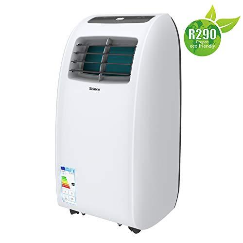 Shinco 2kW Mobiles Klimagerät 7000BTU Tragbare Klimaanlage, Kühlung und Entfeuchtung, Lüftermodus, LED-Anzeige, Fernbedienung, weiß, [Energieklasse A] bis 25m²