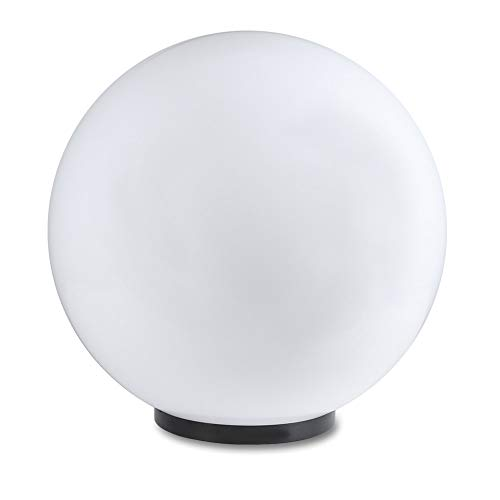 LHG Kugelleuchte 50 cm Ø, weiße Gartenlampe, Außenleuchte, strahlend schöne Deko für Innen & Außen, Gartenbeleuchtung, Gartenkugel für Energiesparlampen E27 & LED - max. 23W, Kugellampe mit IP44