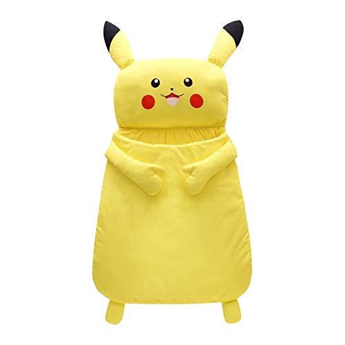 LAYX Einhorn Pyjama Jumpsuit Neugeborenes Schlafsack, Pikachu Babydecke ist wattiert, Dicke warme Baumwolle Babydecke, Anti-Kick, Klimaanlage, Kinderwagen, 0-1 Year Old Baby-Schlafsack 85/105 / 125cm