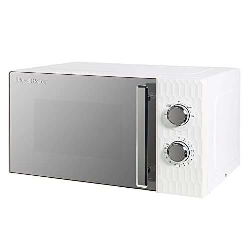 Russell Hobbs Honeycomb RHMM715 17 Litre 700W White Solo Manual Microwave with 5 Power Levels, Integrated Timer and Defrost Function (White)