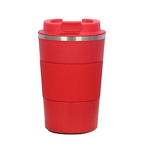 Taza de café de Doble Capa de Acero Inoxidable, Frasco de vacío de Silicona Antideslizante Creativo, Taza de Coche Antideslizante para Coche portátil