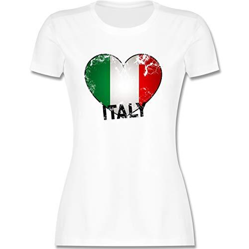 Länder Fahnen und Flaggen - Italien Herz Vintage - S - Weiß - Italien Trikot 2021 - L191 - Tailliertes Tshirt für Damen und Frauen T-Shirt