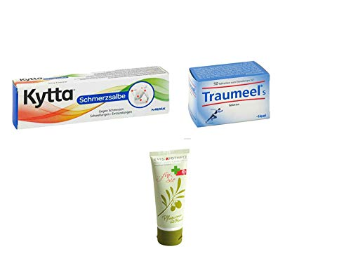 Sparset Schmerz Klein - Kytta Schmerzsalbe 50g & Traumeel S Tabletten 50 St. Inkl. GRATIS Rats-Apotheke Olivenöl Pflegecreme