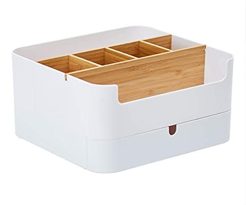 Recet Kosmetik Aufbewahrungsbox Schminke Aufbewahrung, Schminkbehälter, Hochwertiger Multifunktionaler Bambus Kosmetikbox mit 6 Fächern und 1 Schublade, Anti-Rutsch Aufbewahrungsbox Badezimmer