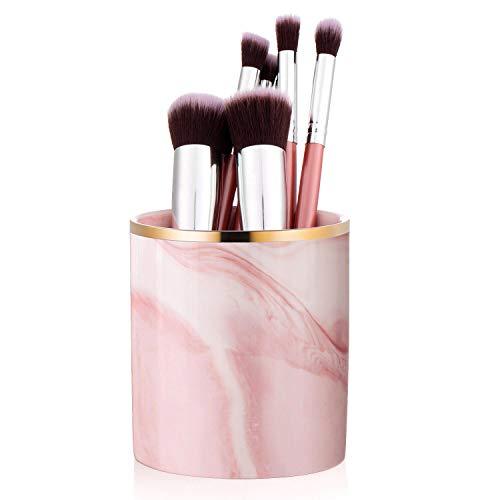 Czemo Portalápices de Escritorio de Cerámica Organizador de Brochas de Maquillaje Lapiceros para Escritorio Decoracion Habitacion Mármol (Rosado)