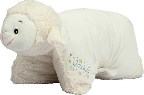 Kuschelkissen Schaf personalisiert mit Namen - 2 in 1 Kuscheltier XXL und Kissen - Kopfkissen in Tierform für Kinder und Erwachsene - Tierkissen Kinderkissen Geschenk für Junge Mädchen Baby (Blau)
