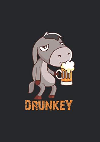 Notizbuch A5 dotted, gepunktet, punktiert mit Softcover Design: Drunkey witziger Esel mit Bier Alkohol Pferd Maultier Donkey: 120 dotted (Punktgitter) DIN A5 Seiten