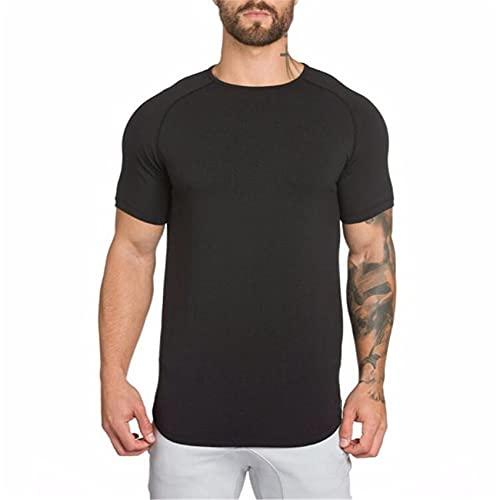 Camiseta Deportiva Transpirable Larga De Fitness En Blanco De Color Puro para Hombre, Camiseta Ajustada De Verano De Manga Corta para Hombre De Moda