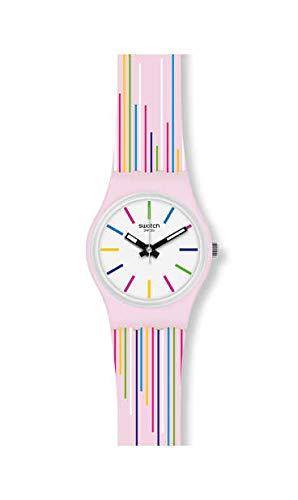 Swatch Damen Analog Schweizer Quarz Uhr mit Silicone Armband LP155