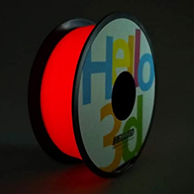 Hello3D PLA 3D Printer Filament, Glow in The Dark Red PLA Filament 1.75mm, 3D Printing PLA Filament Glowing Color 1KG (2.2Lbs) 1 Spool Luminous Red