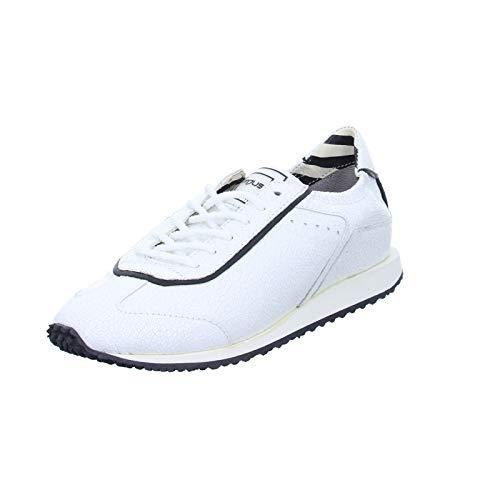 Mjus Damen Halbschuh 8249 Schnürhalbschuh Leder Risse Weiß (Bianco/Nero) Größe 40 EU