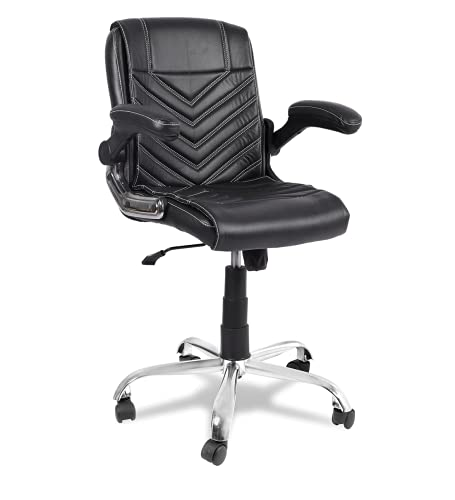 Oakcraft Office Chair Adjustable Tilt Angle and Flip-up Arms Executive Computer Desk Chair, Thick Padding for Comfort and Ergonomic Design for Lumbar Support (Black)