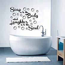 Vivityobert muurstickers inspirerende citaten zeep is om het lichaam wat lach is om de ziel voor badkamer