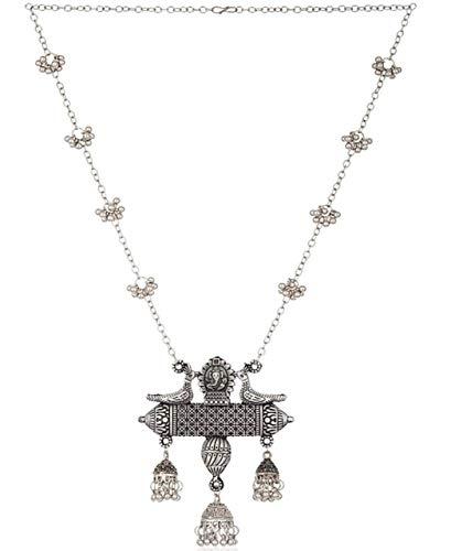 VintFlea Juego de collar con colgante de cadena de plata para mujeres y niñas