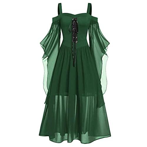 Dasongff Robe Vêtements Gothiques Femme Sexy Angle Gothique Punk Mini Robe Taille Empire Soirée Vintage à Bretelles à Lacets Camisole Asymétrique pour Halloween Party Fête