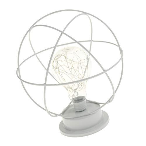MagiDeal Lámpara de Vintage de Hierro de Alambre Blanco Industrial con Decoración de Cafetería de Barra de Bulbo