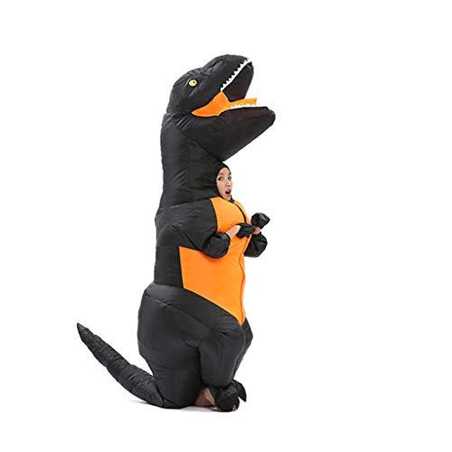LXLTLB Disfraces Inflable Halloween Adulto/Niño Inflable Partido Dinosaurio Hinchable Traje Funny Dress (con Ventilador USB),Negro,100~135cm