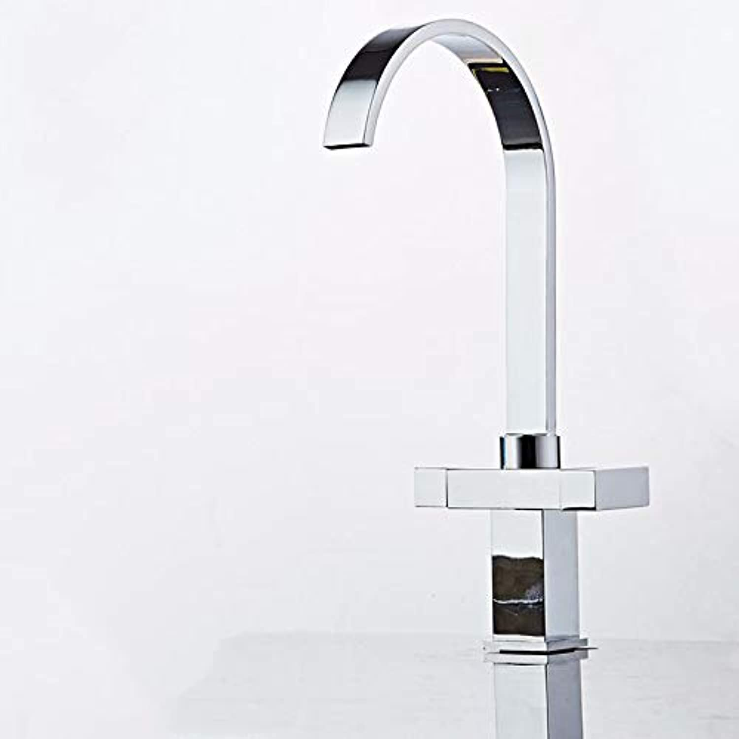 Basin Faucet Bathroom Sink Mixer Faucet Single Handle Lead-Free Copper Chrome Kitchen Faucet with Waterfall Spout Hot and Cold Tap Water Available