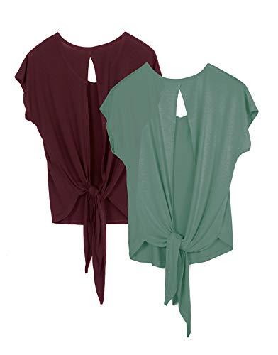icyzone Camiseta Deportiva de Manga Corta de Suelta de Espalda Abierta para Mujer, Pack de 2 -M-Vino/Ágata Verde