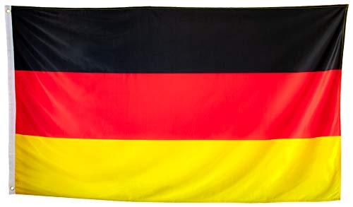 esvendio Deutschland Flagge, Deutschlandfahne mit Ösen, 110 GSM, UV-beständig + wetterfest, 150 x 90 cm