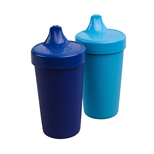 Re-Play Made in USA 2pk Toddler Feeding No Spill Sippy Cups | 1 Piece Silicone Easy Clean Valve | Eco Friendly Heavyweight Recycled Milk Jugs are Virtually Indestructible | Navy Blue, Sky Blue