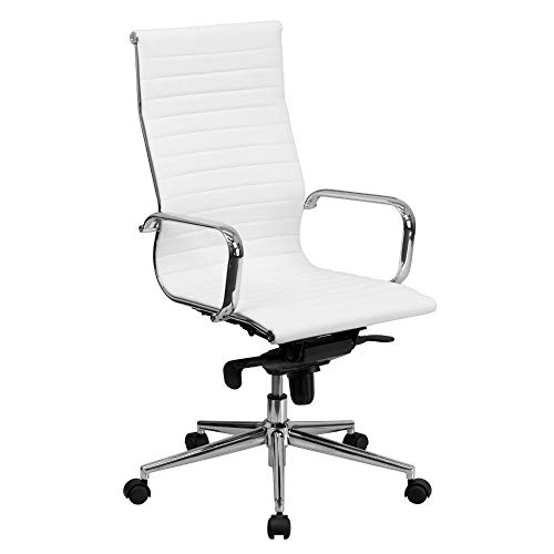 High Back White Ribbed Upholstered Leather Office Chair