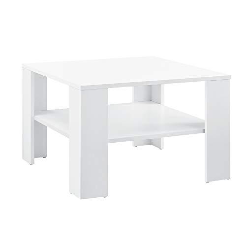 [en.casa] Couchtisch 60x60x40cm mit Ablage Tisch Beistelltisch Wohnzimmertisch Sofatisch Weiß