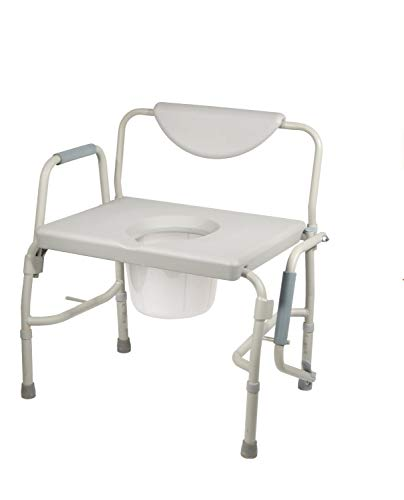 HEALTHLINE Heavy Duty Drop Arm Bariatric Commode | Bedside Commode Toilet Chair...