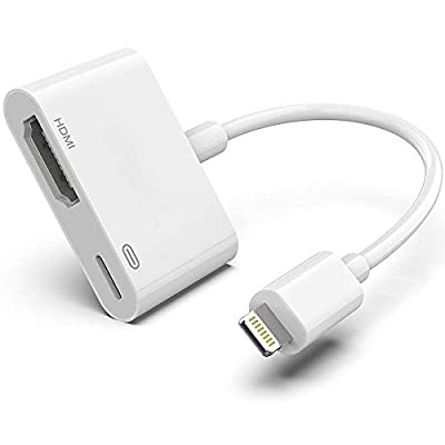 Apple Lightning to HDMI Digital AV Adapter,[Apple MFi Certified] 1080P HDMI Sync Screen Digital Audio AV Converter with Charging Port for iPhone, iPad, iPod on HDTV/Projector/Monitor, Support All iOS