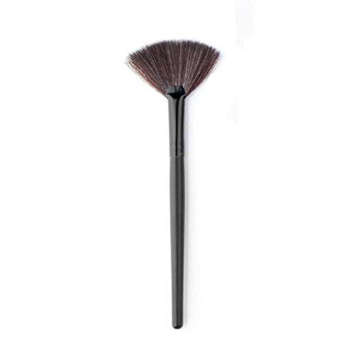 Tonsee Maquillage Fan Blush Poudre pour le visage Fondation brosse cosmétiques,Small, Noir