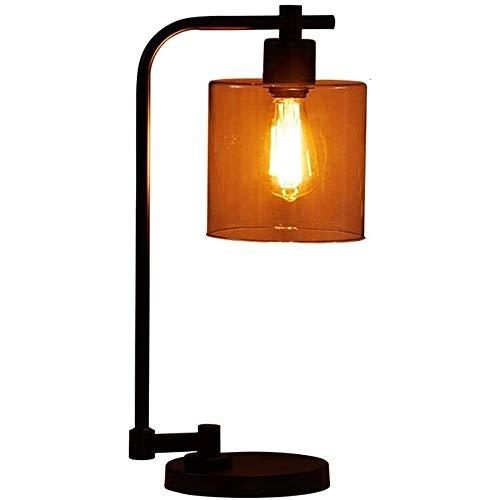 Liangsujiantd Flexo Led Escritorio, Modern Industrial viento tabla creativa de la lámpara, Cristal Hierro forjado lámpara de escritorio, blanco lechoso de vidrio, de Edison, un gran escritorio de ofic