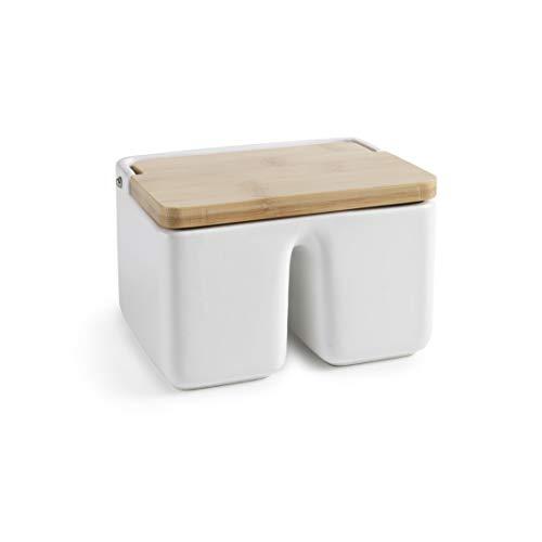 Ibili 8411922449631 Salero Doble Ceramic y Bamboo, Multicolor, Talla Única, Nylon