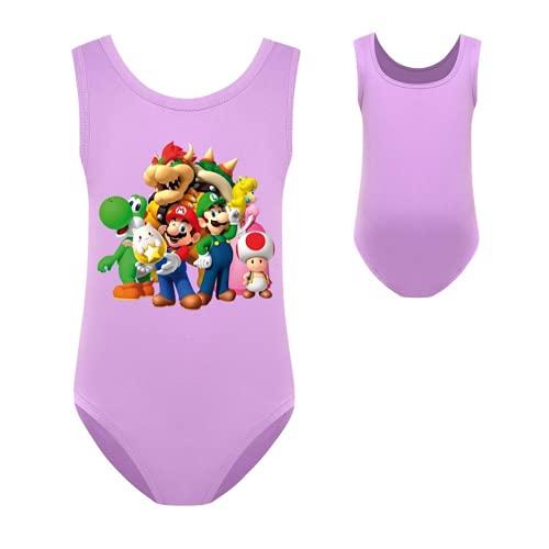 NFBZ Super Mario - Bañador para niña de corte alto, sin mangas, diseño de dibujos animados impresos, bikini para la playa, Mario-03, 160