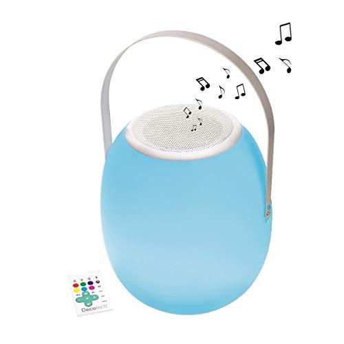 Lexibook Decotech, lantaarn, buitenverlichting, binnenverlichting, waterdicht met Bluetooth luidspreker, wit BTL710